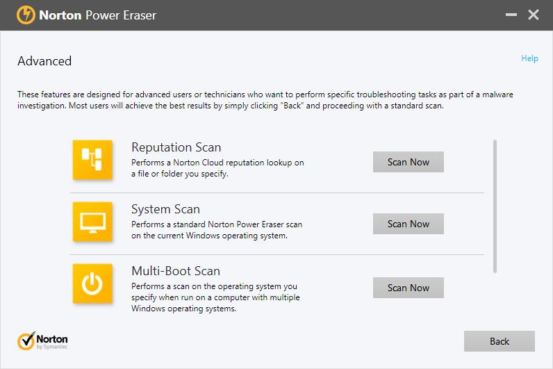 Norton power eraser выбор типа сканирования