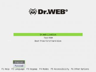окно загрузки Dr. Web Live Disk